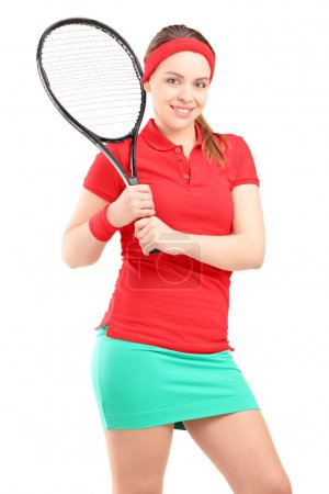 Female with tennis racket