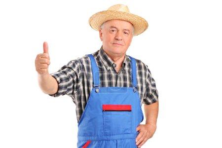 Mature farmer giving thumb up