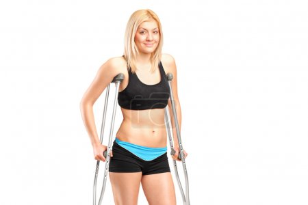 Female on crutches