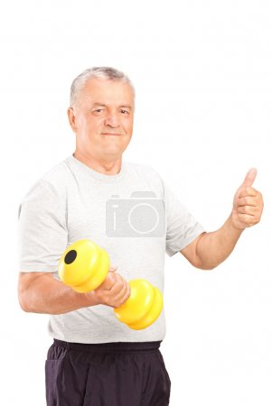 Man lifting dumbbell and giving thumb up