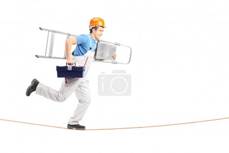 Repairman running on rope