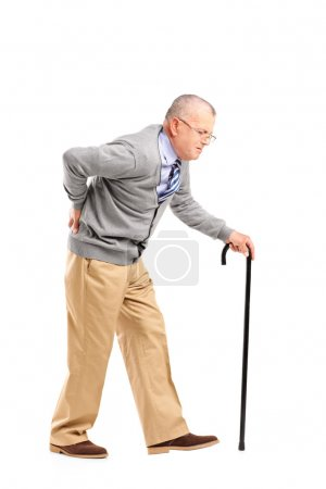 Senior gentleman walking with cane