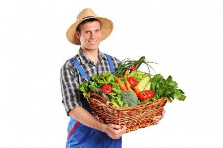 Farmer holding basket of vegetables
