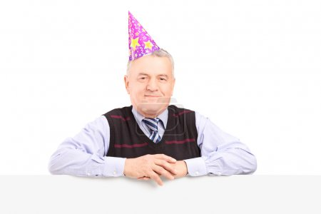 Gentleman wearing party hat