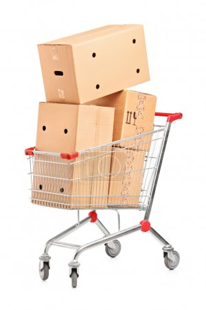 Shopping cart and stack of boxes