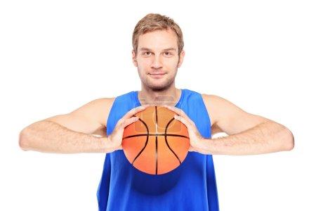 Basketball player with basketball
