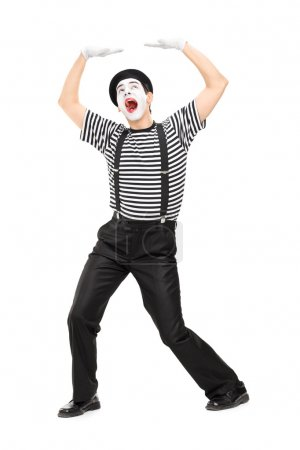 Mime artist simulate carrying something