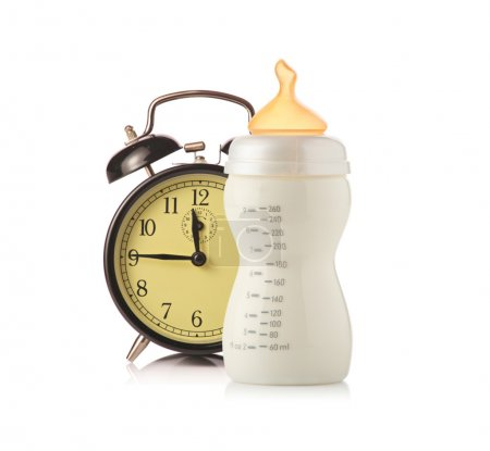 Alarm clock and baby feeding bottle