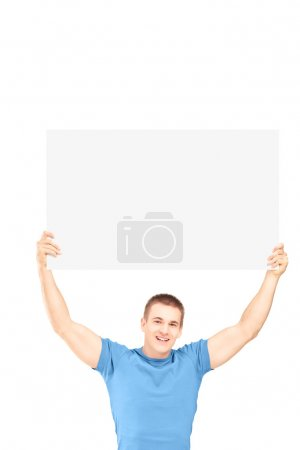 Man holding white panel