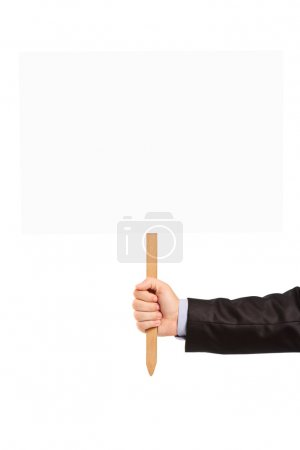 Photo for Male hand holding blank banner, isolated on white background - Royalty Free Image