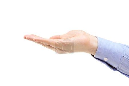 Photo pour Un plan studio d'une main masculine isolée sur fond blanc - image libre de droit