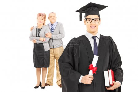 College graduate and his parents