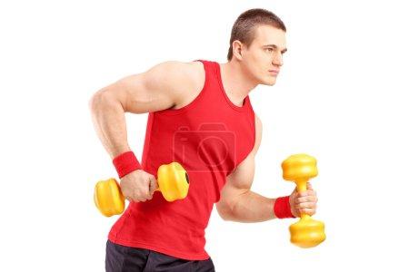 Muscular athletic man lifting dumbbells