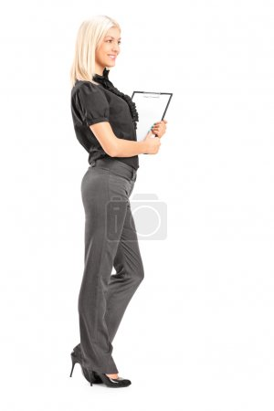 Professional woman holding clipboard