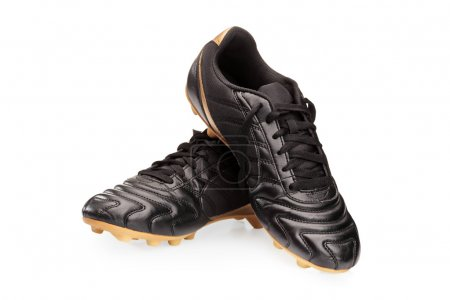 Black leather soccer shoes