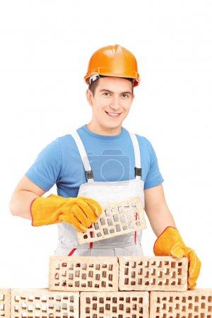 Manual worker building brick wall