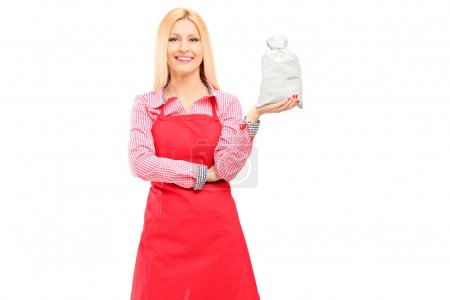 Photo for A smiling housewife wearing apron and holding a bag isolated against white background - Royalty Free Image