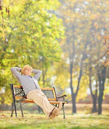 Photo pour Homme âgé assis sur un banc en bois et relaxant dans le parc, tourné avec une lentille inclinable et décalée - image libre de droit