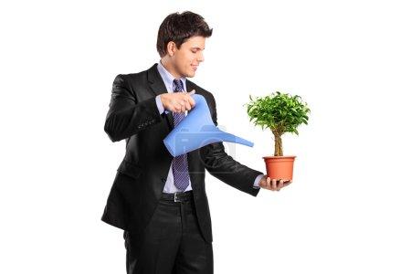 Photo pour Portrait d'un homme d'affaires tenant un pot de fleurs avec benjamin et arrosoir isolé sur fond blanc - image libre de droit