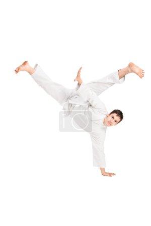 Karate man performing