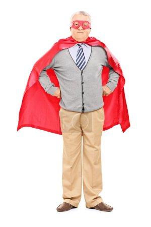 Elderly in superhero costume