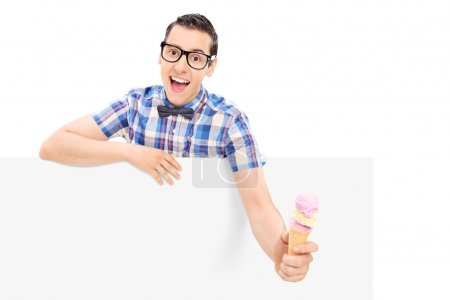 Man holding ice cream