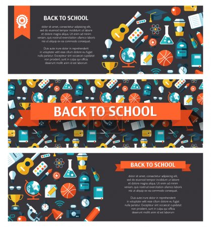 Vector school flat design flyer templates