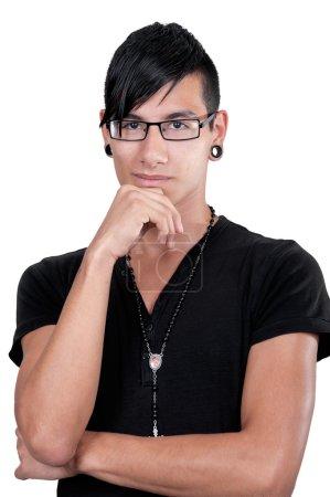 Thinking latino boy portrait