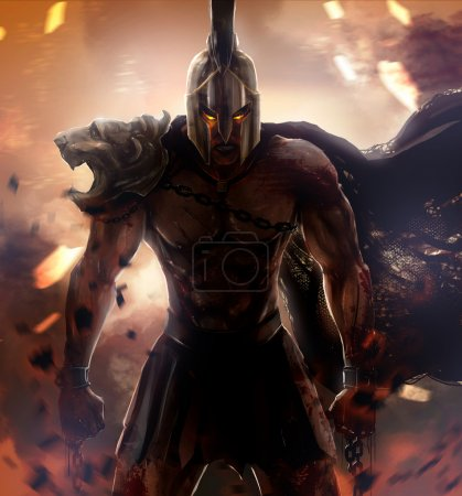 Photo for Angry spartan warrior standing - Royalty Free Image