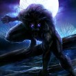 Angry werewolf illustration with night forest back...