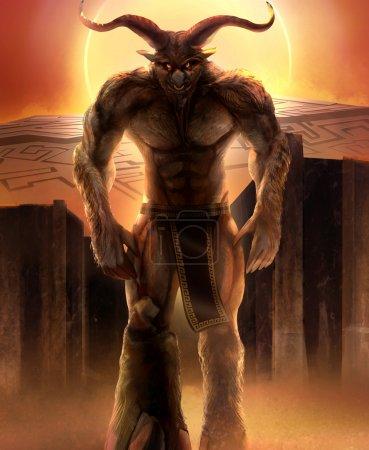 Fantasy greek mythological creature Minotaur beast...