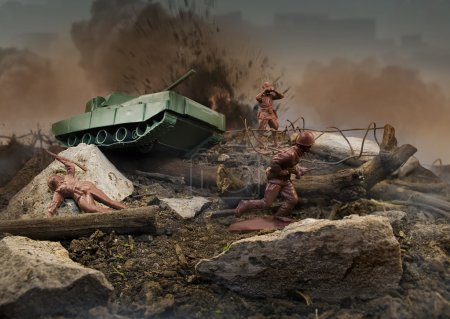 Photo for Plastic brown toy soldiers war scene attack - Royalty Free Image