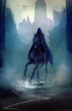 Photo pour Cavalier de fantaisie noir avec capuche en illustration route sombre forêt. - image libre de droit