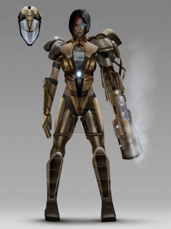 Futuristic woman cyber armor costume