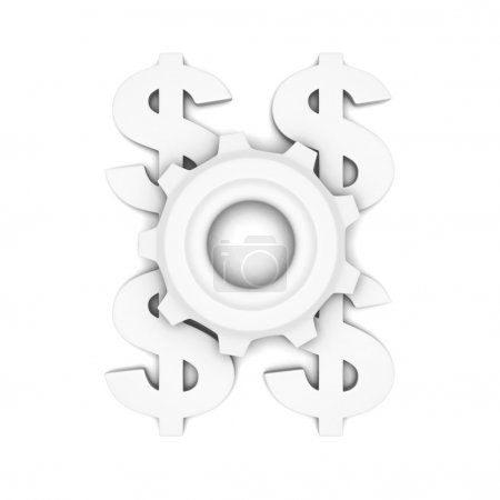 white dollar currency symbols with cogweel gear