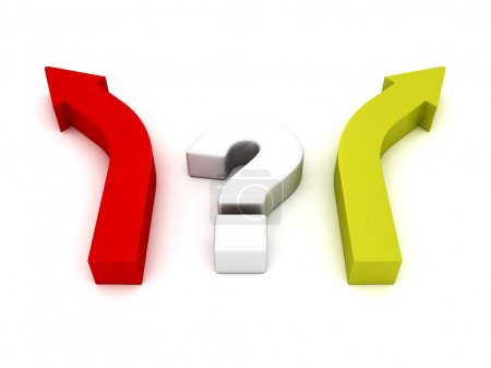 point d'interrogation et deux flèches choix de direction différent