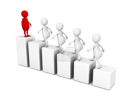 Leadership concept 3d people grow on bar chart