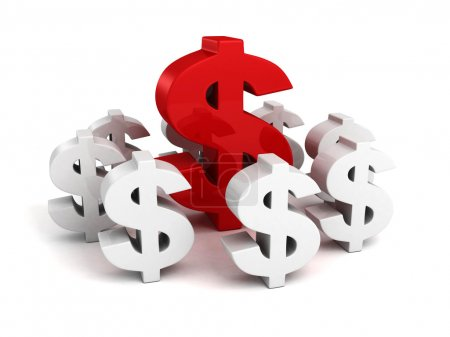 big red dollar currency symbol as leader of white group