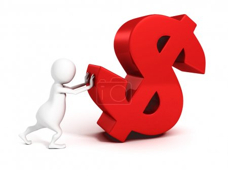 3d businessman pushing red dollar currency symbol