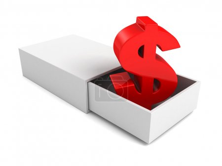 red dollar currency symbol  in open white box