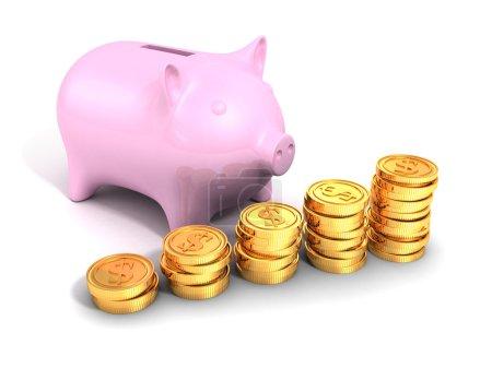 Piggy money bank with golden dollar coins chart