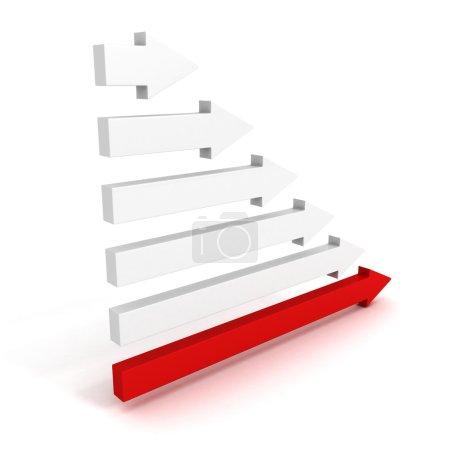 Photo pour Concept de leadership avec la grosse flèche rouge du groupe gris illustration de rendu 3d - image libre de droit