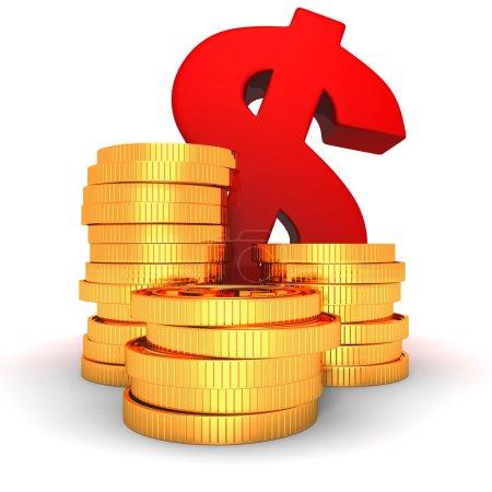 Photo pour Empilements de pièces d'or et symbole du dollar rouge. Concept de financement des entreprises illustration de rendu 3d - image libre de droit