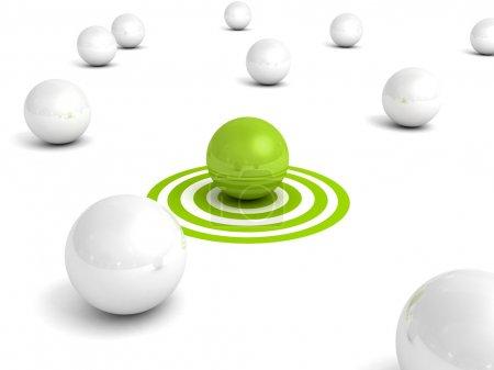 Photo pour Boule verte différente sur la cible à partir de boules blanches. Concept individuel de réussite en leadership d'entreprise Illustration de rendu 3D - image libre de droit