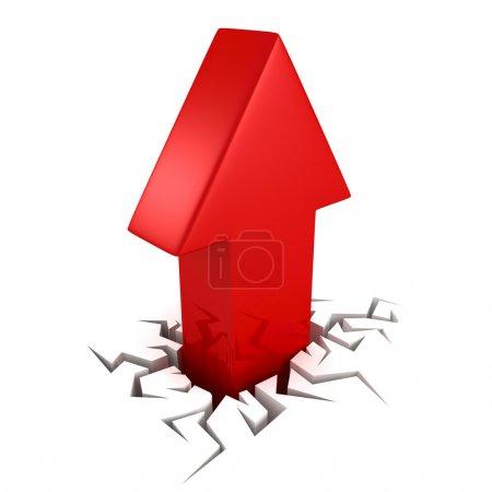 Photo pour Flèche rouge du trou de fissure sur fond blanc. concept de succès illustration de rendu 3d - image libre de droit