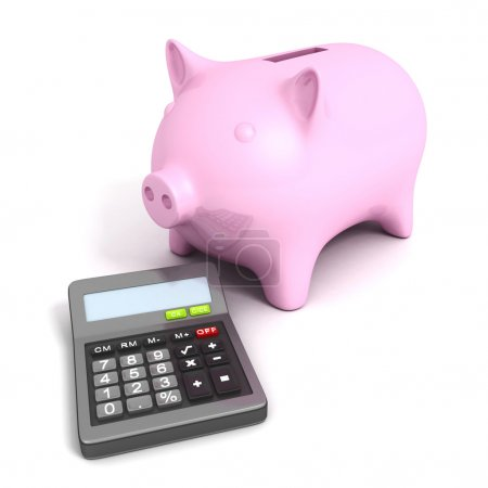 Pink piggy bank with calculatoron white background. Business fin