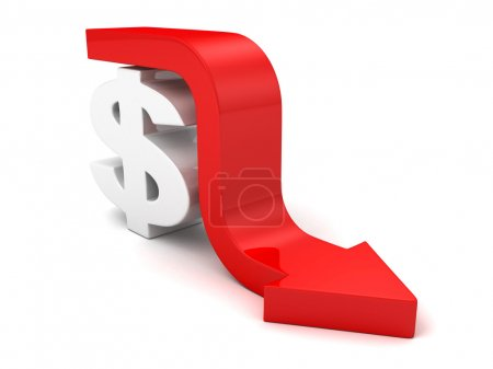 Red Fall Arrow Dollar Currency Symbol. Financial Business Concep