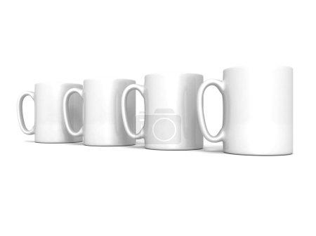 Set of coffee or tea break white mugs cups
