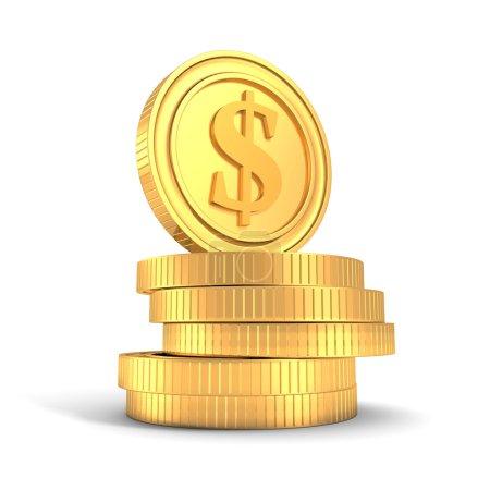 Photo pour Pile de pièces de monnaie dollar d'or sur fond blanc. financement des entreprises illustration de rendu 3d - image libre de droit