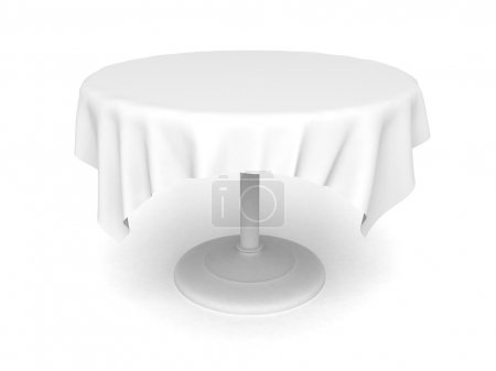 Photo pour Table ronde vide et nappe sur fond blanc - image libre de droit